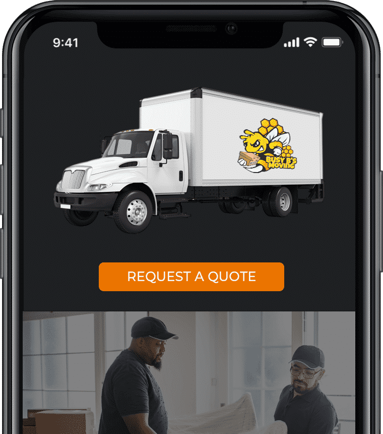 This is a Busy B's moving phone graphic with truck and movers.