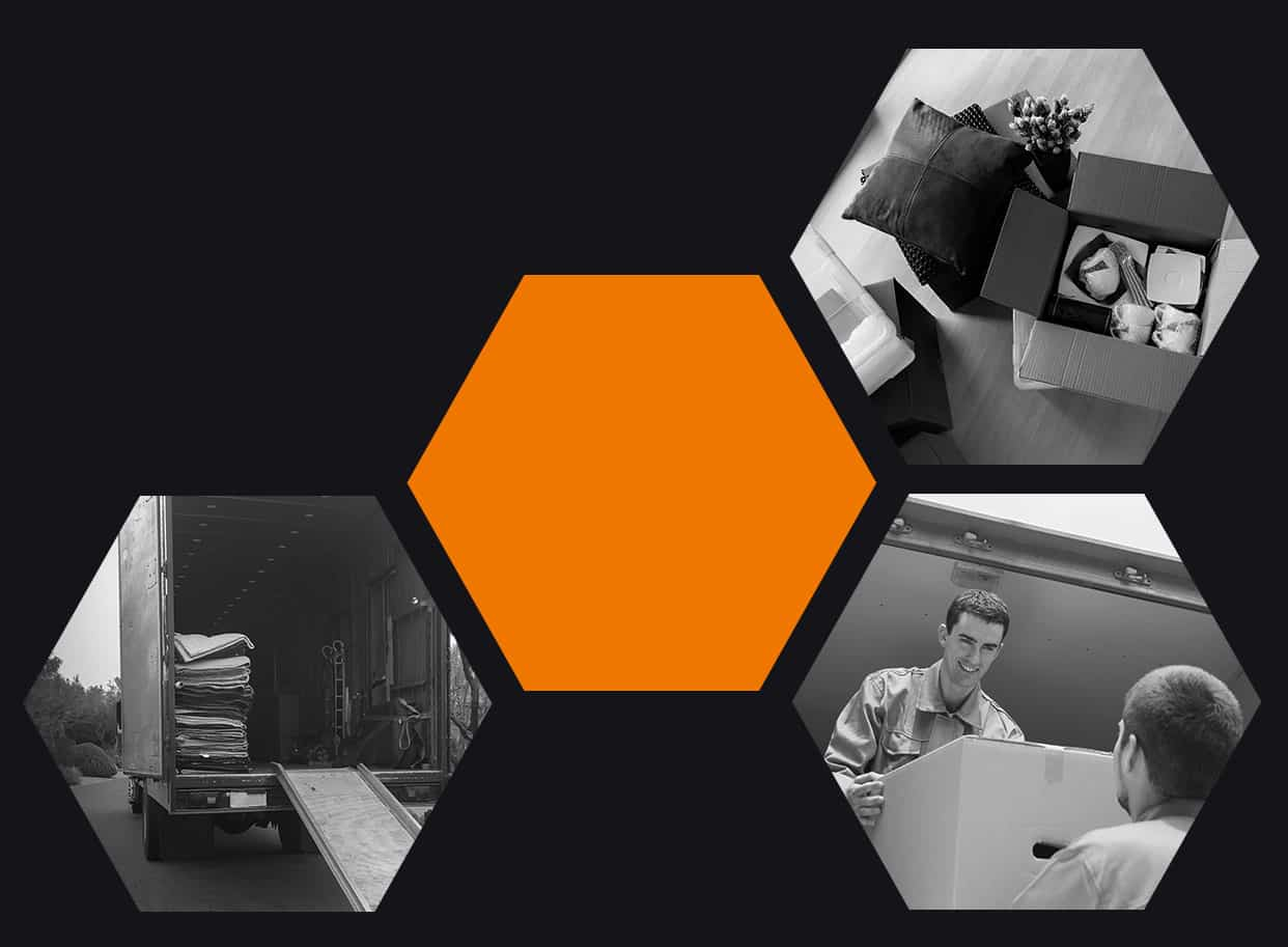 Pictured: various moving services photos in a gallery showing boxes, moving truck, and moving crew.